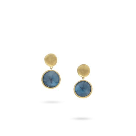Boucles d'oreilles Marco Bicego Jaipur topazes bleu london et or jaune