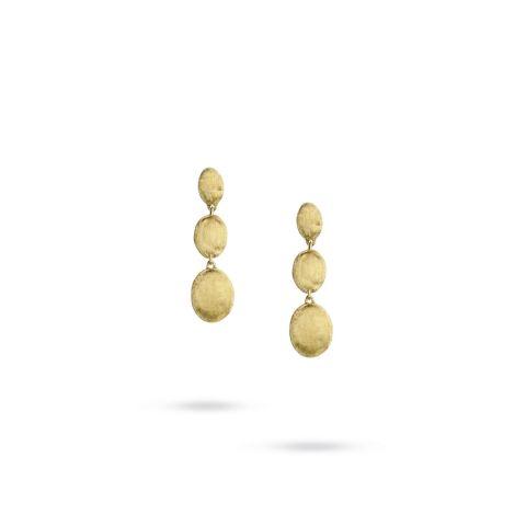 Boucles d'oreilles Marco Bicego Siviglia 3 motifs or jaune guilloché