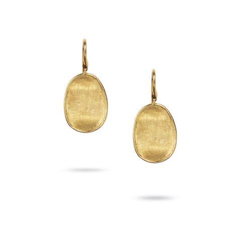 Boucles d'oreilles pendantes Marco Bicego Lunaria pavés d'or jaune guilloché pendants