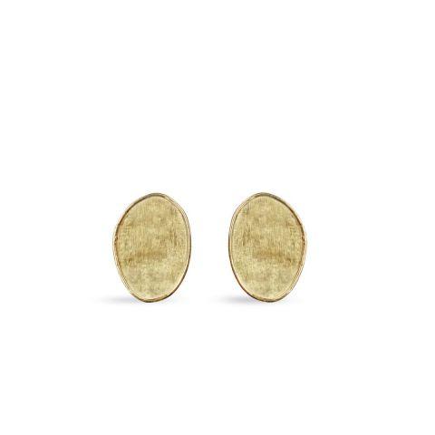 Boucles d'oreilles Marco Bicego Lunaria pavés d'or jaune guilloché