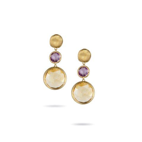 Boucles d'oreilles Marco Bicego Jaipur or jaune guilloché, améthyste et citrine