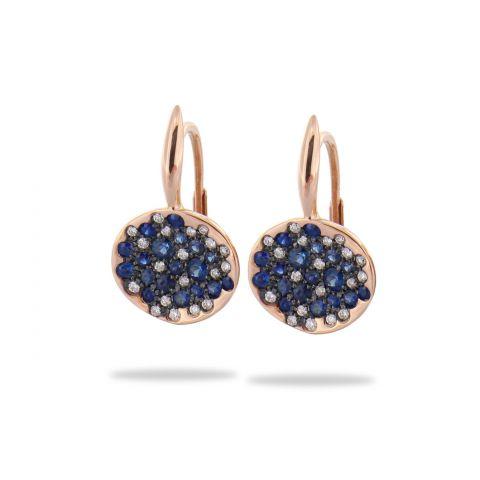 Boucles d'oreilles Brusi Spring pavés de saphirs et diamants disponibles à la bijouterie à Liège