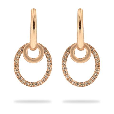 Boucles d'oreilles Brusi Circle en or rose et pavé de diamants