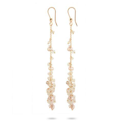 Boucles d'oreilles Brusi Fringe calcédoines blanches, perles et or rose