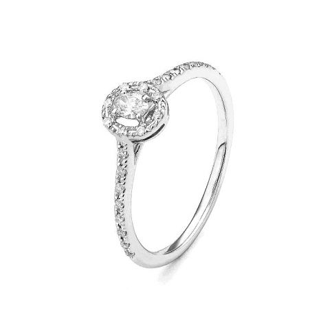 Bague diamant central oval entourage diamants et or blanc