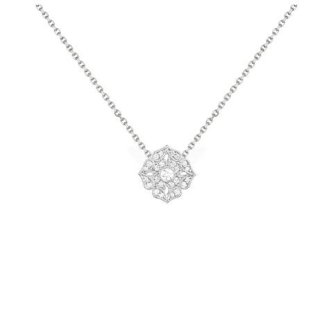Collier Stone Paris Tiny Flower or blanc et diamants