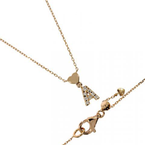 Pendentif lettre A en or jaune et diamants