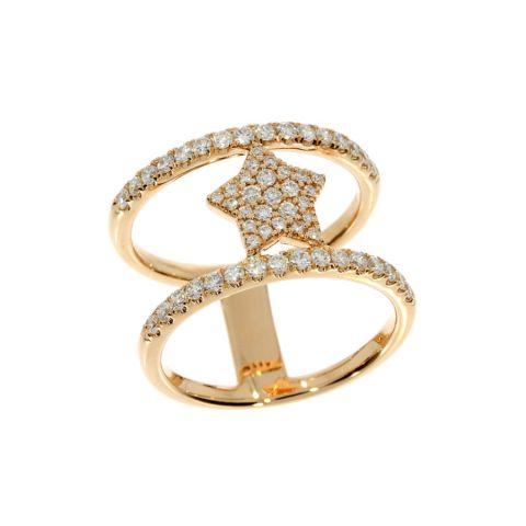 Double bague étoile en diamants sur or jaune