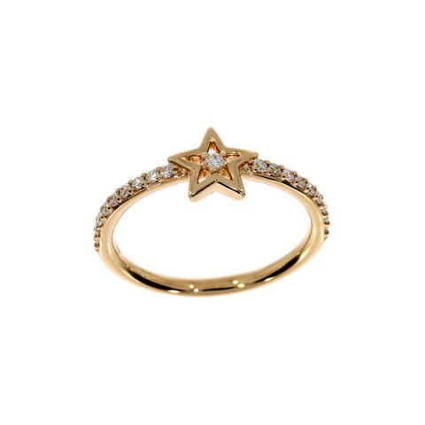 Bague en forme d'étoile, diamants et or jaune