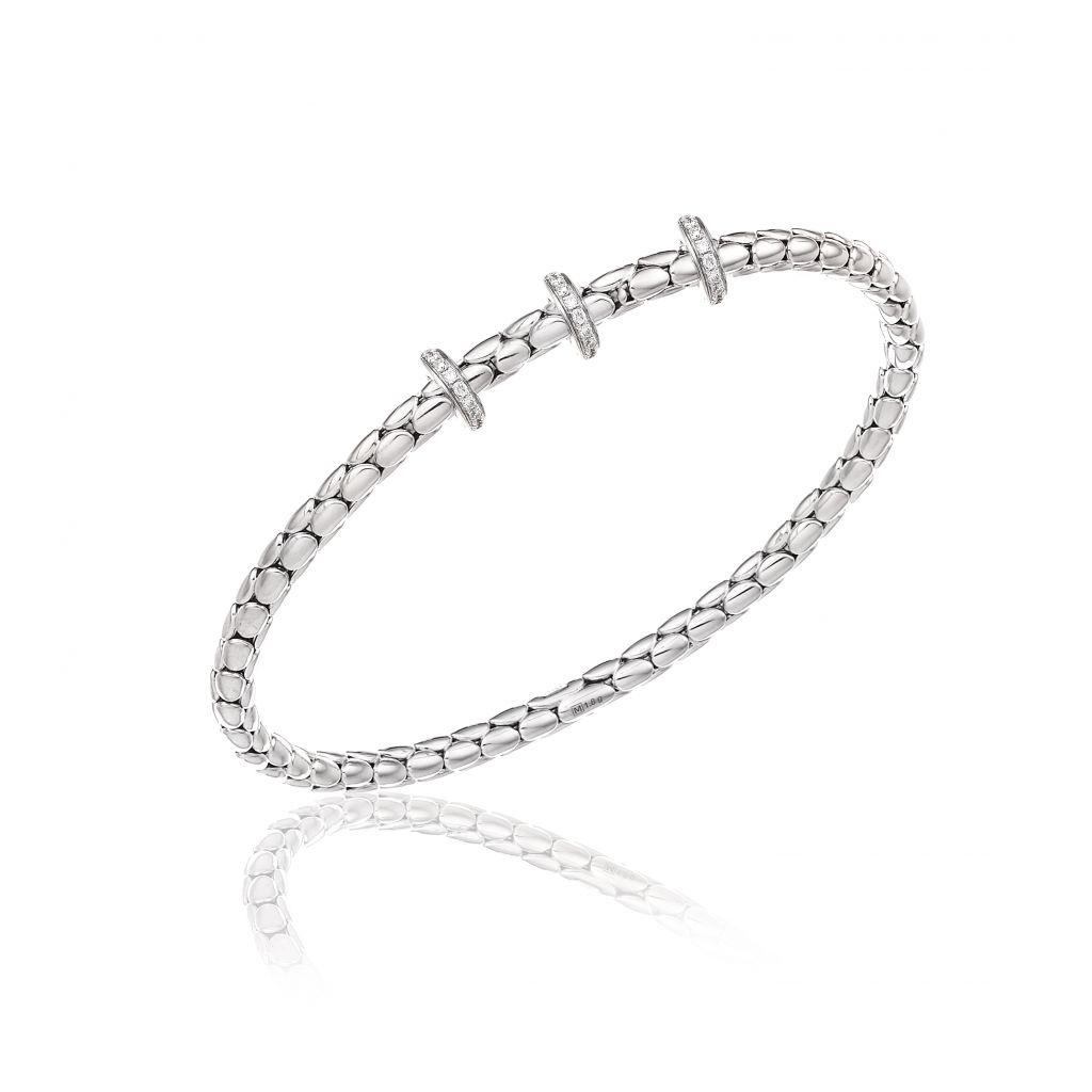 Bracelet Chimento Stretch Spring  en or blanc à maille élastique, orné de 3 motifs sertis de diamants