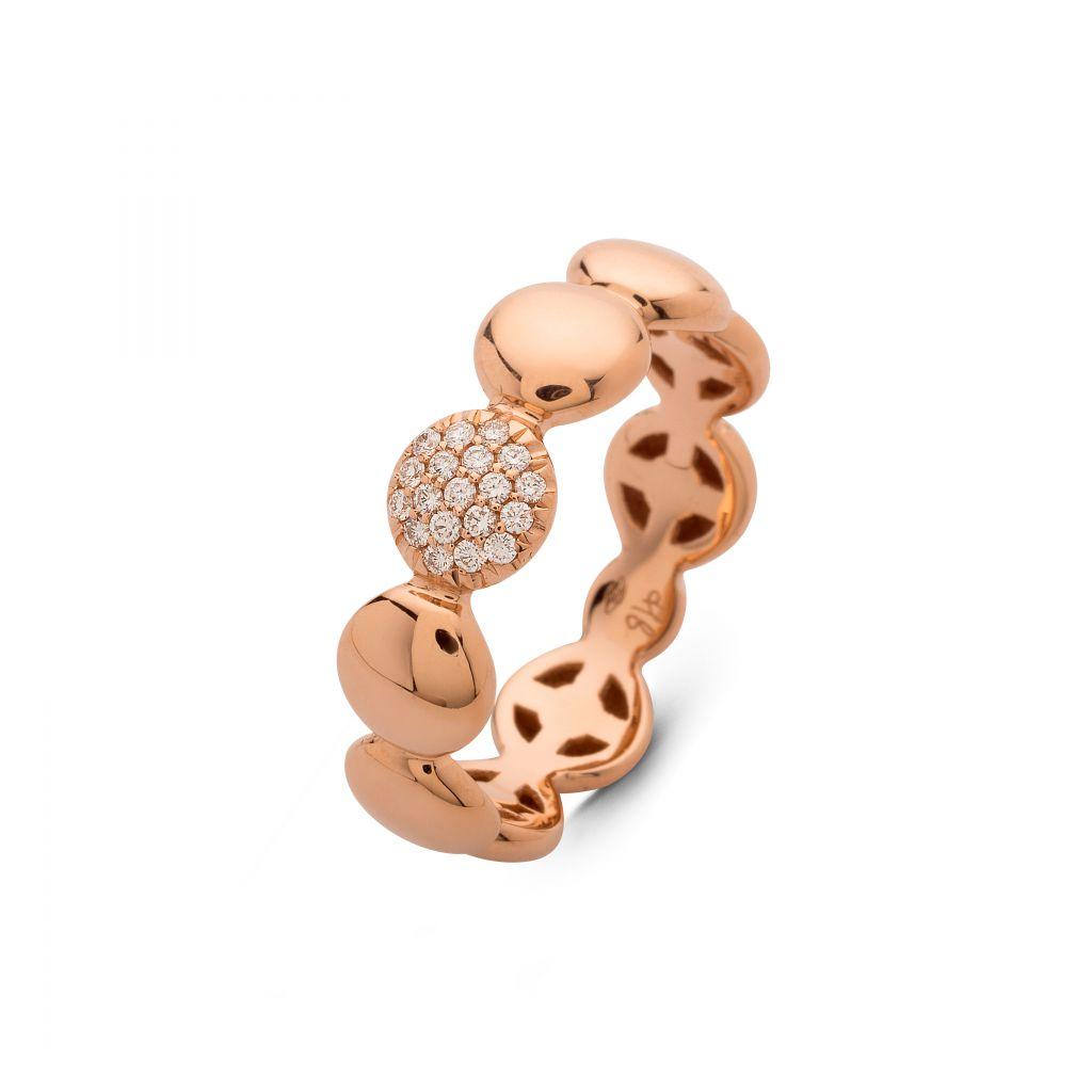 Bague Hulchi Belluni ronds d'or rose et 1 pavé de diamants