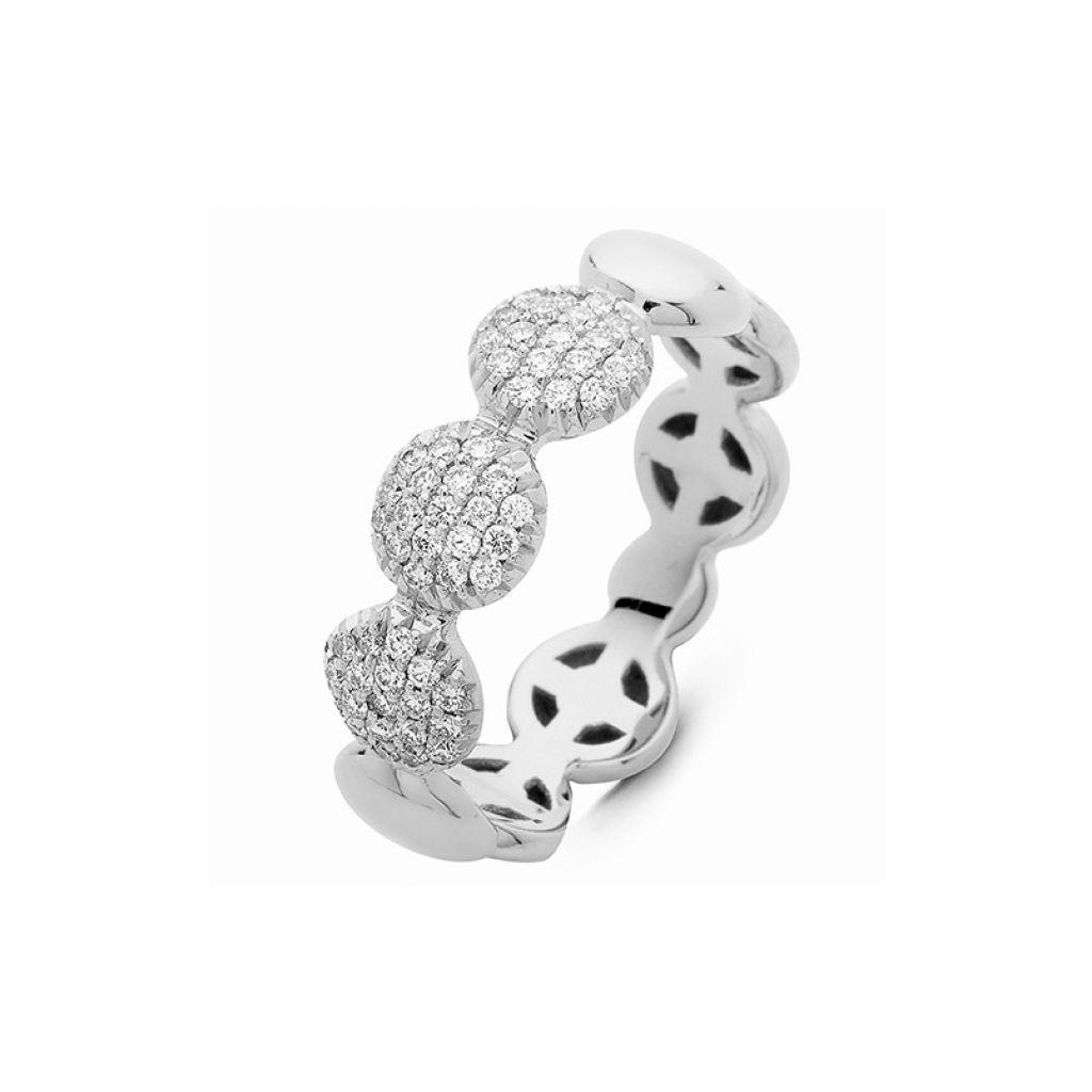Bague Hulchi Belluni ronds d'or blanc et 3 pavés de diamants