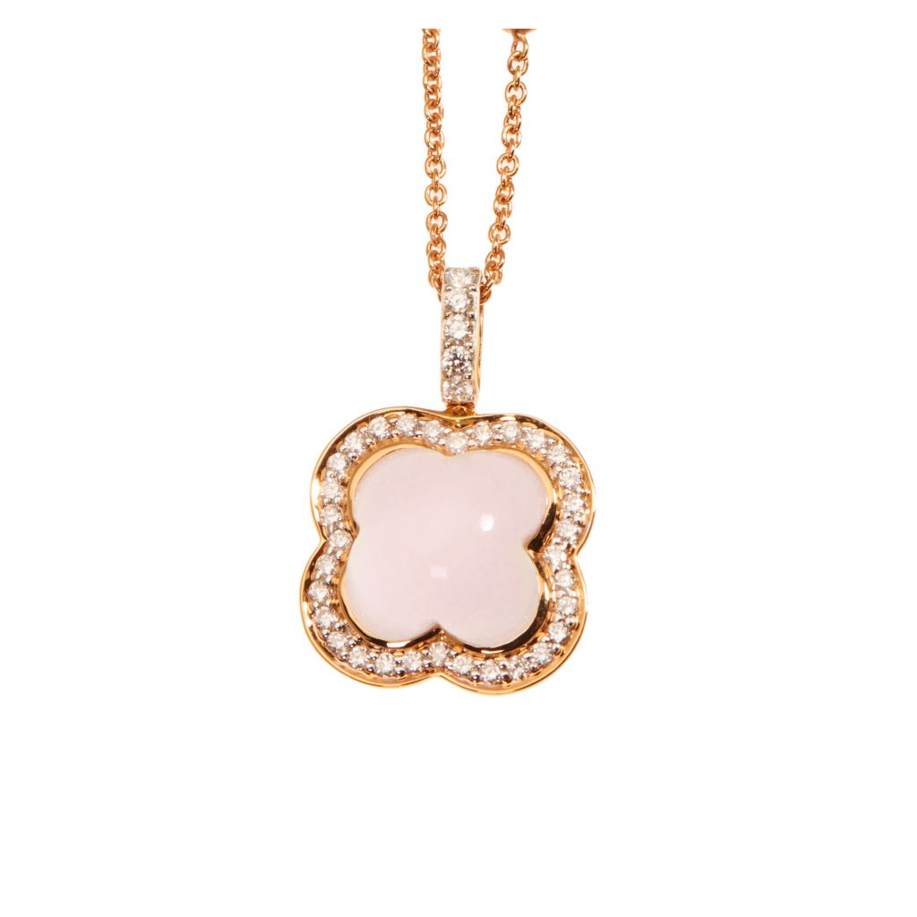 Pendentif Hulchi Belluni Quadrifoglio quartz rose entourage, diamants et or rose, détail