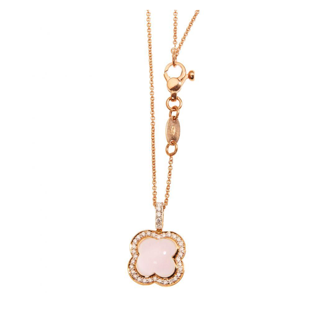 Pendentif Hulchi Belluni Quadrifoglio quartz rose entourage, diamants et or rose