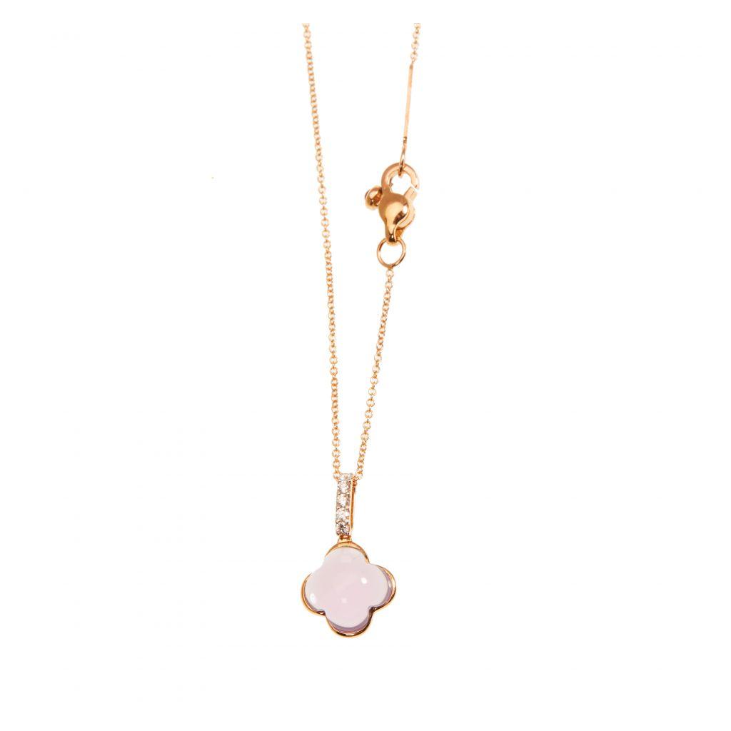 Pendentif Hulchi Belluni Quadrifoglio améthyste, diamants et or rose