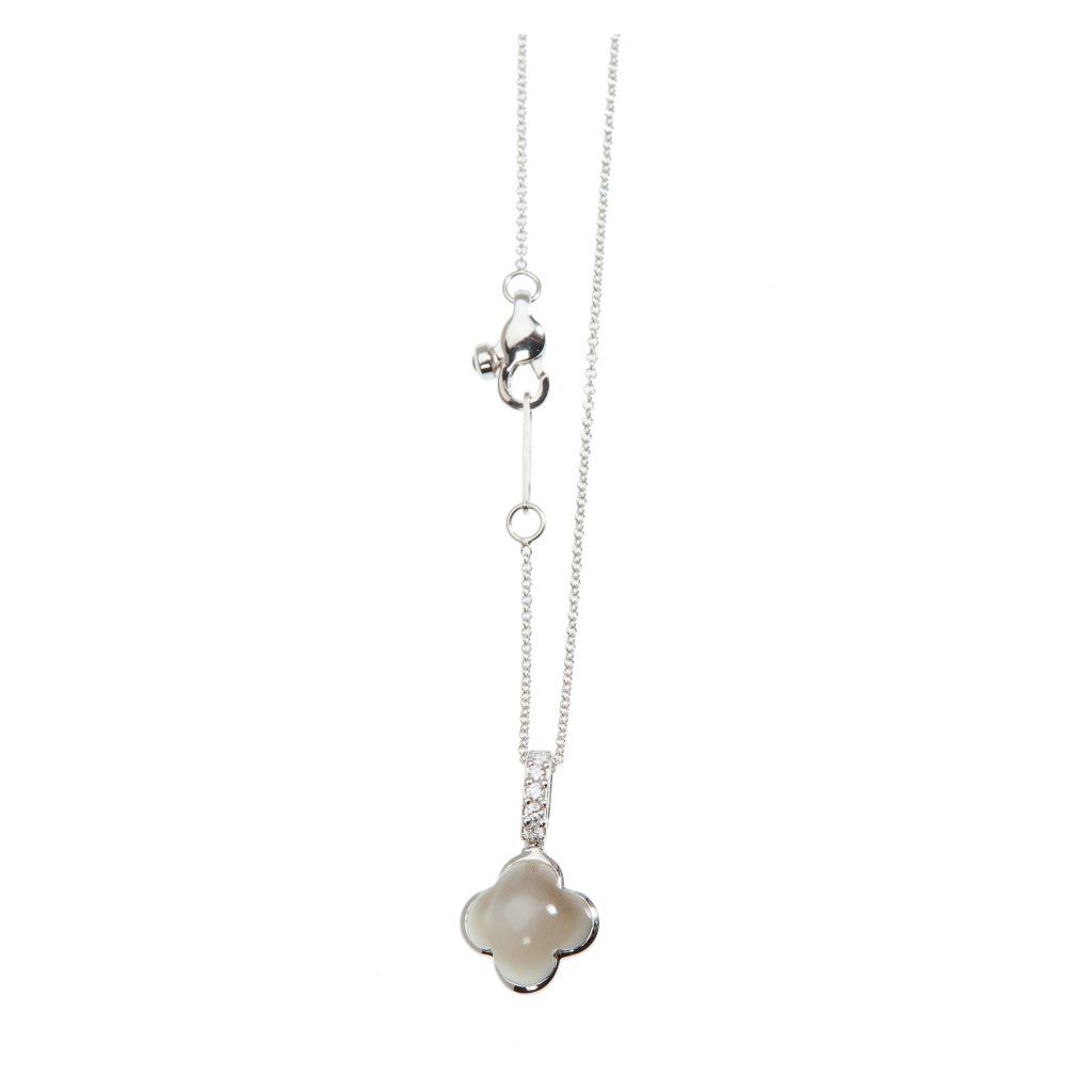Pendentif Hulchi Belluni Quadrifoglio pierre de lune, diamants et or blanc