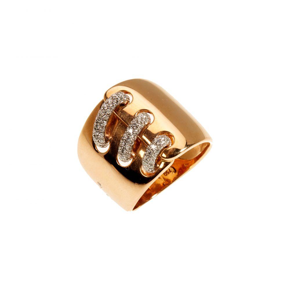 Bague Hulchi Belluni Corsage or rose et liens pavés de diamants