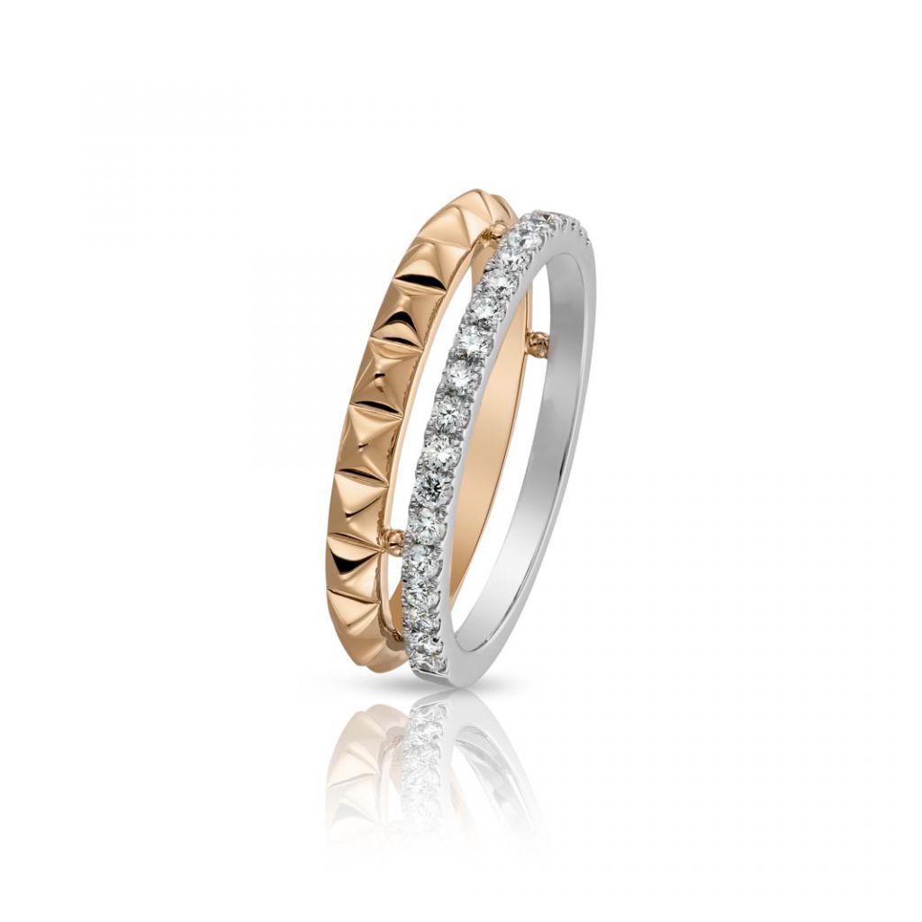 double bague hulchi belluni or jaune or blanc diamants