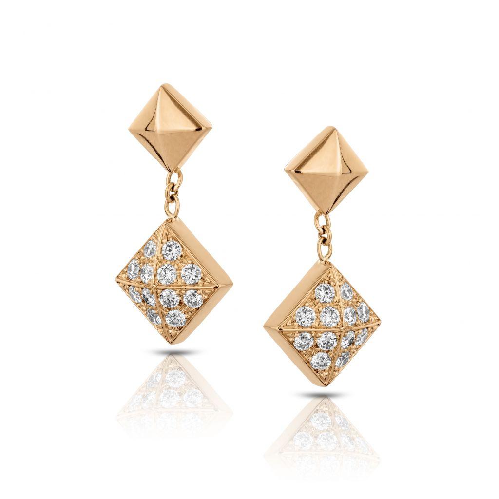 Boucles d'oreilles Hulchi Belluni Cubini or rose et pavé de diamants
