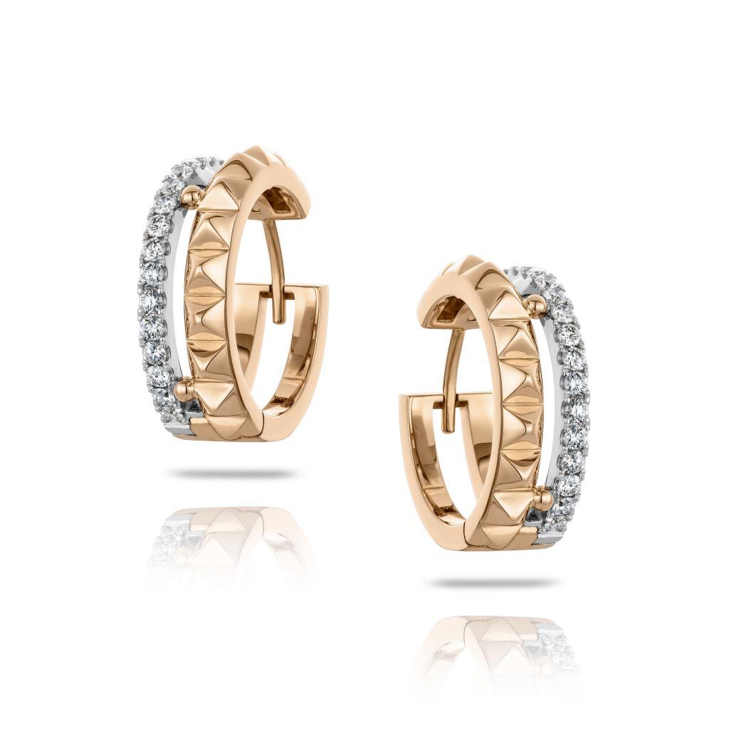 Boucles d'oreilles Hulchi Belluni Cubini or rose, or blanc et pavé de diamants