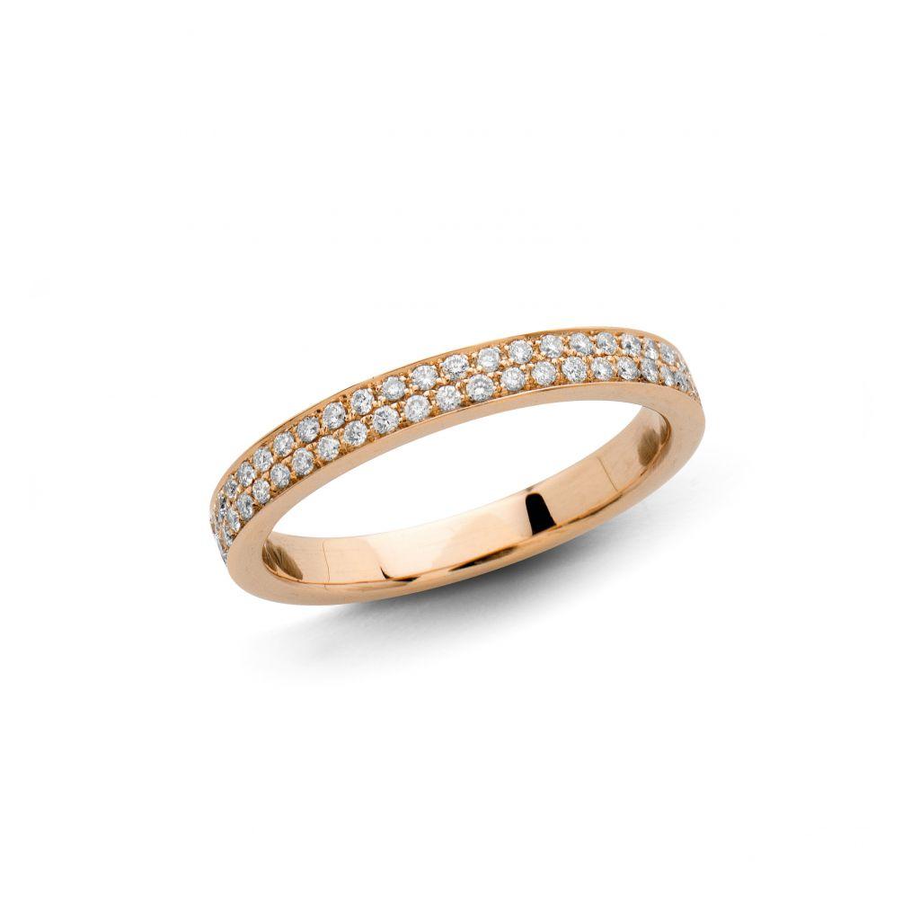Demi-alliance Hulchi Belluni en or rose et diamants