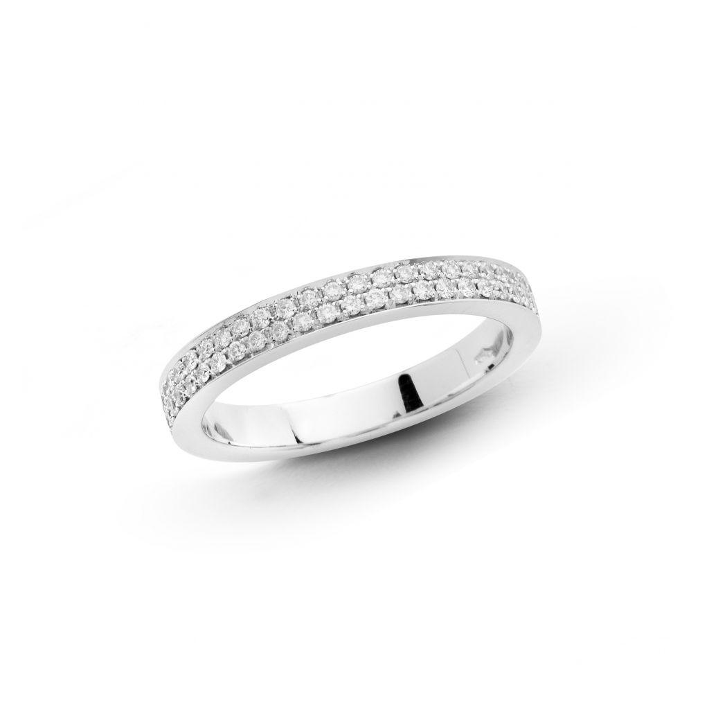 Demi-alliance Hulchi Belluni en or blanc et diamants