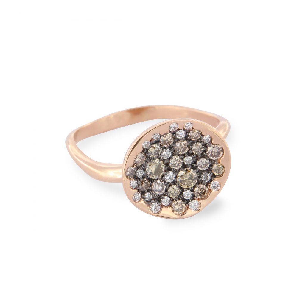 Bague Brusi Spring or rose pavé de diamants bruns et blancs à plat