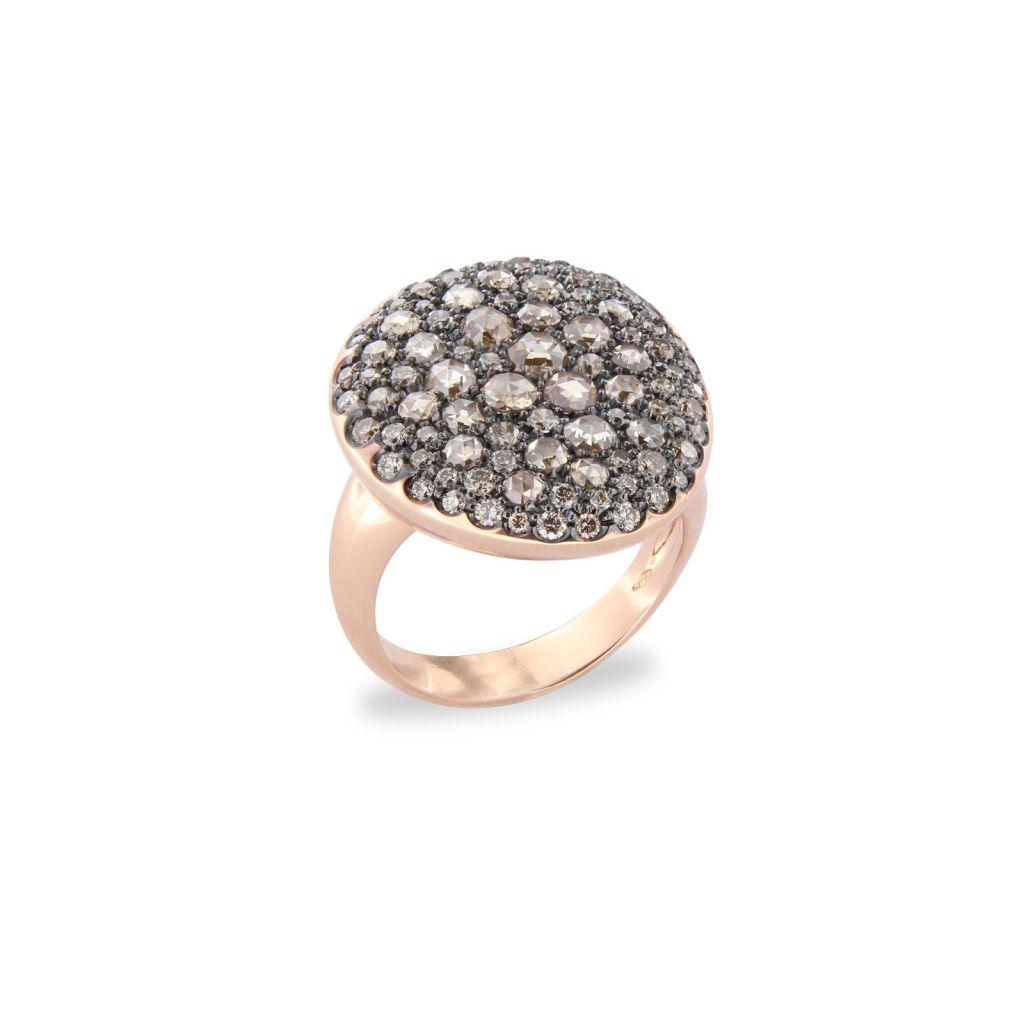 Bague Brusi grand pavé de diamants bruns en or rose vue de côté