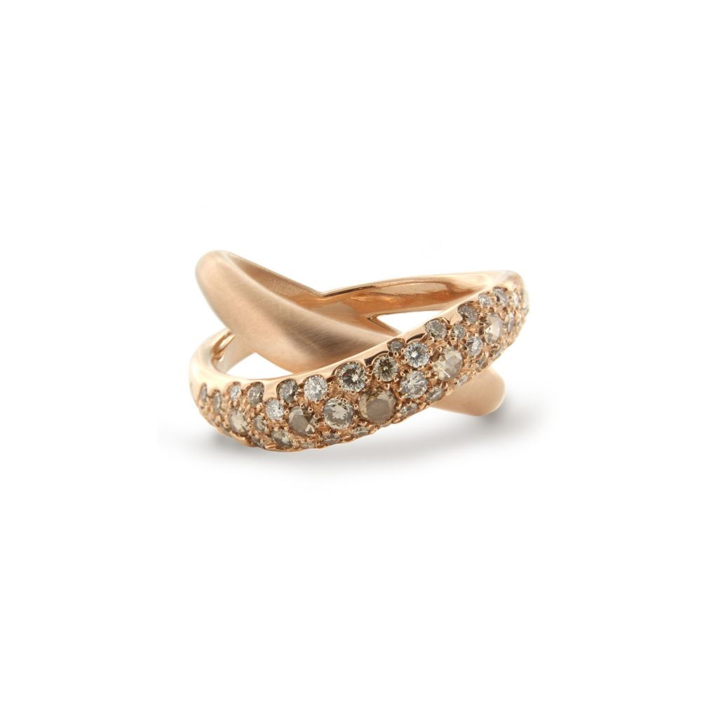 Bague Brusi Knot or rose et diamants disponible à la bijouterie à Liège