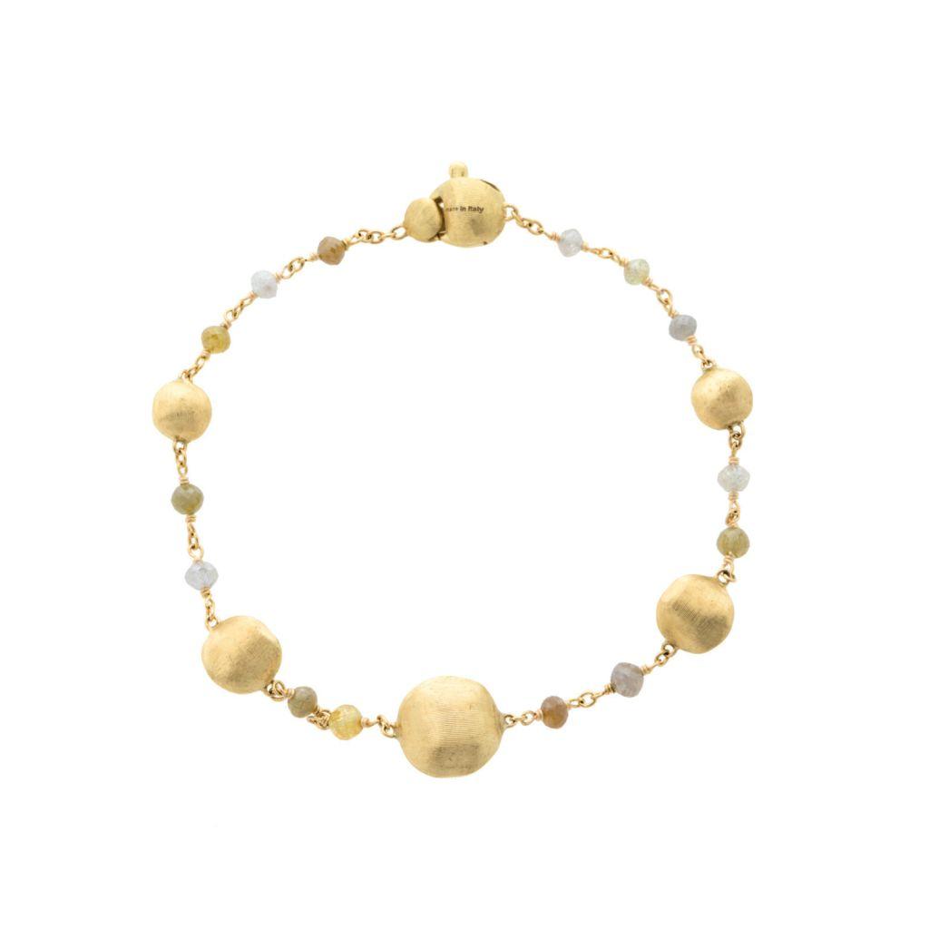 Bracelet Marco Bicego Africa en or jaune guilloché et diamants multicolores