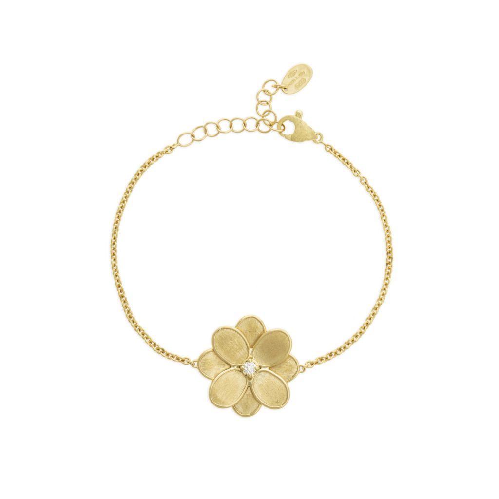 Bracelet simple Marco Bicego Lunaria Petali fleur d'or jaune guilloché, diamant central disponible dans notre bijouterie à Liège