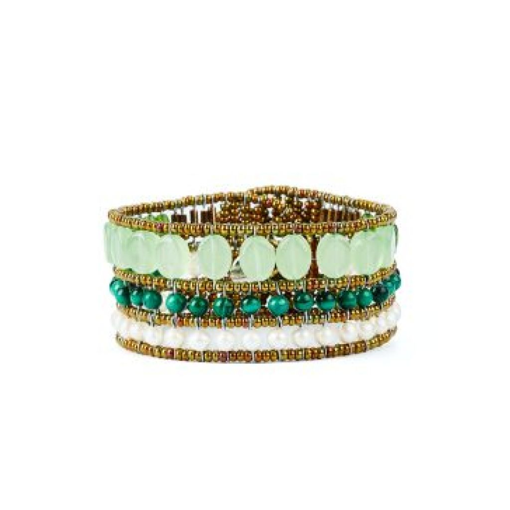 Bracelet ZIIO Coloratissimo Criso Hydro en calcédoine, jade, malachite et perles en verre de Murano