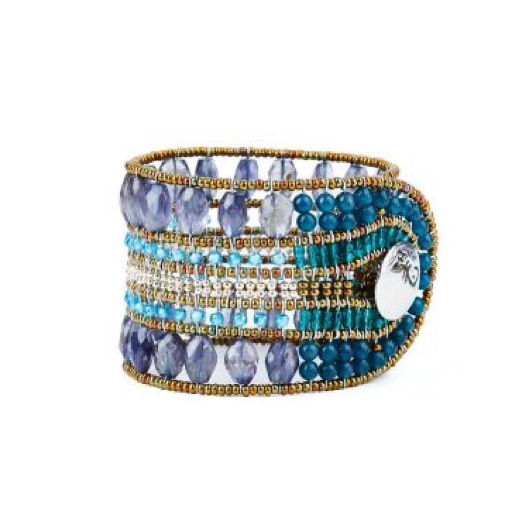 Bracelet manchette ZIIO Translucide Iolite en apatite, iolite, perles en verre de Murano et zircons