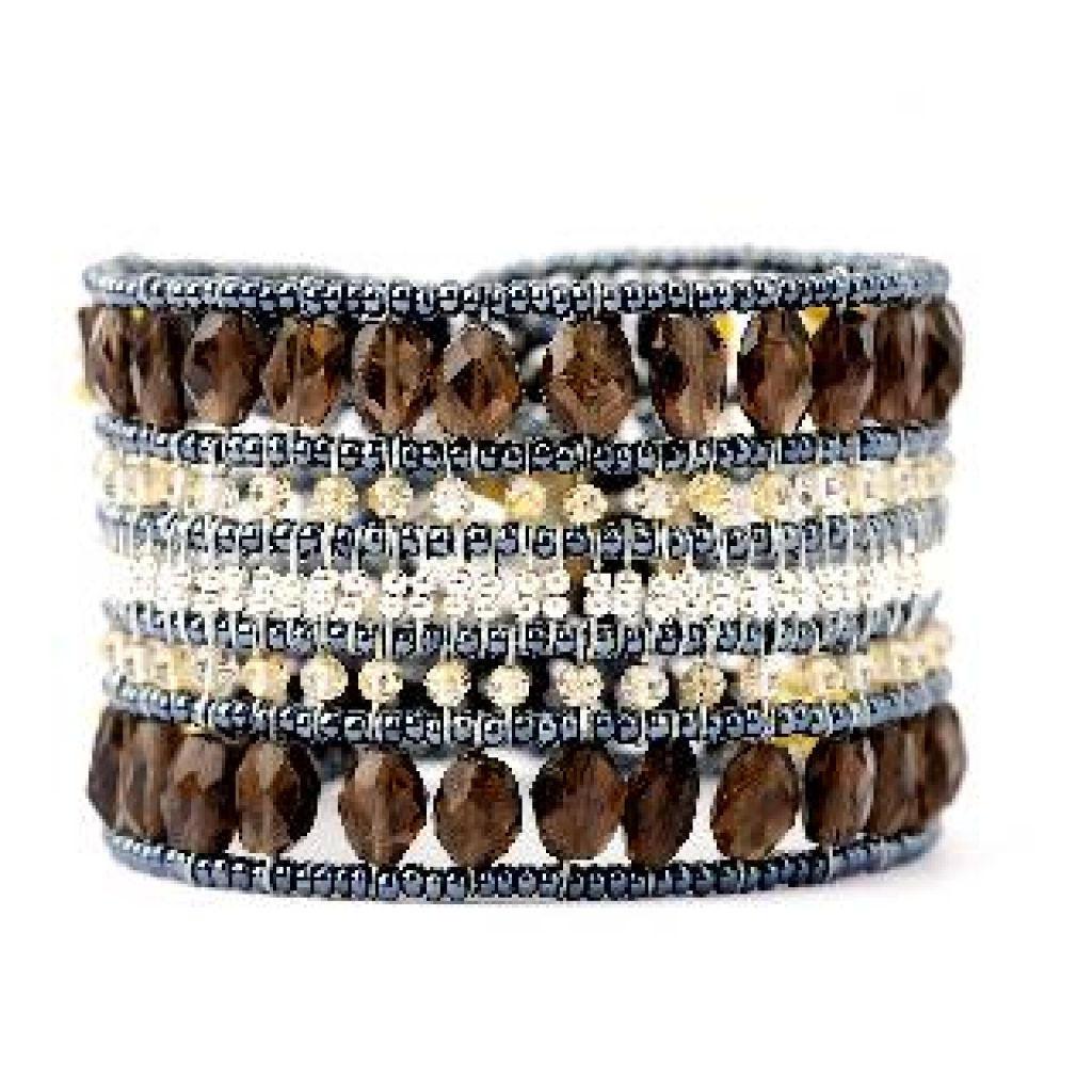 Bracelet manchette ZIIO Translucide Smoked Quartz en quartz, citrine, hématite et perles en verre de Murano
