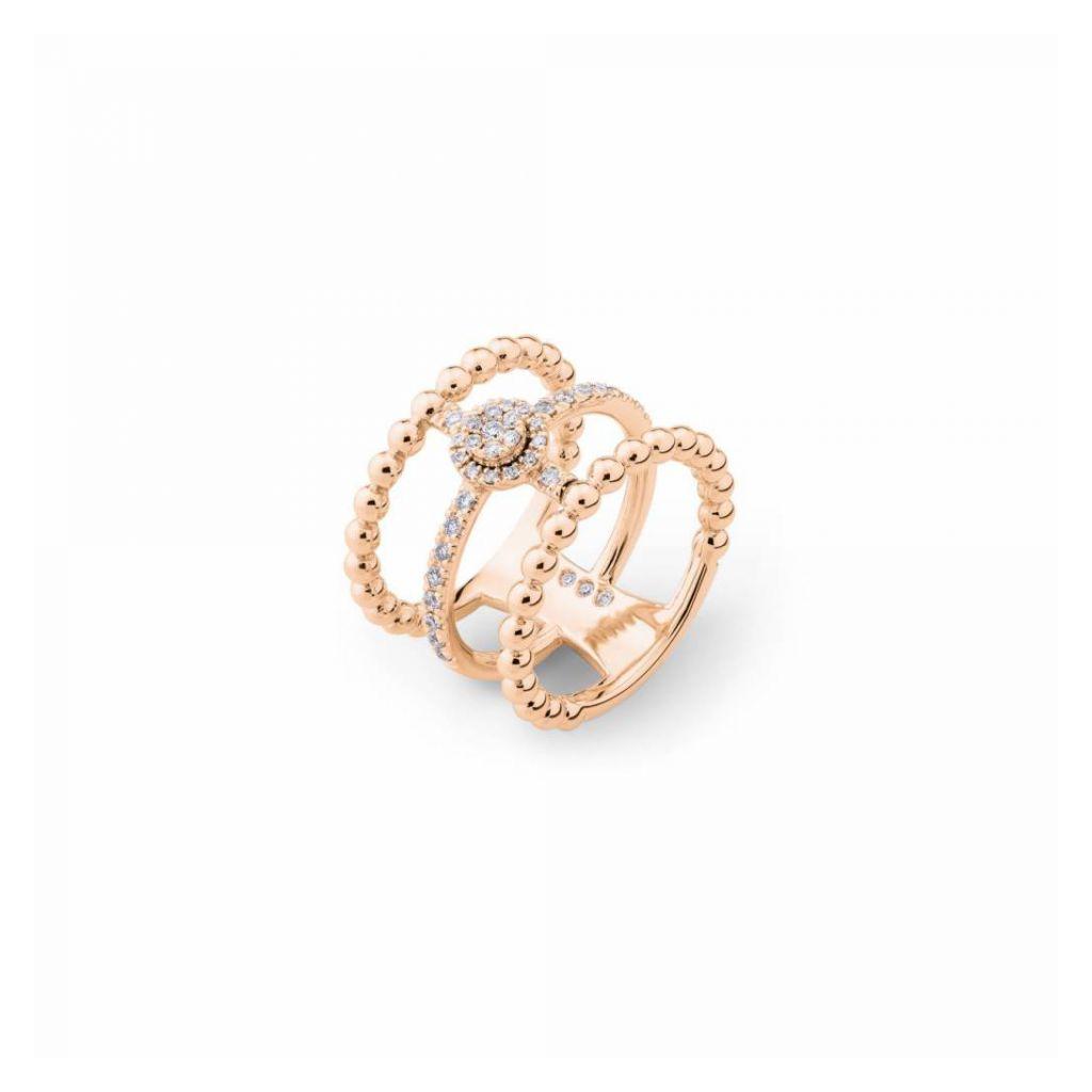 Bague triple Casato Boutique en or rose et diamants