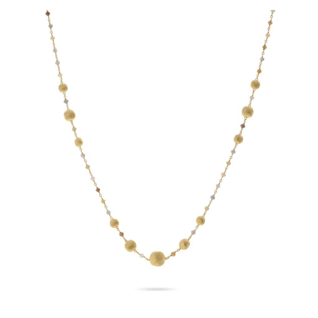 Collier Marco Bicego Africa or jaune guilloché et diamants multicolores