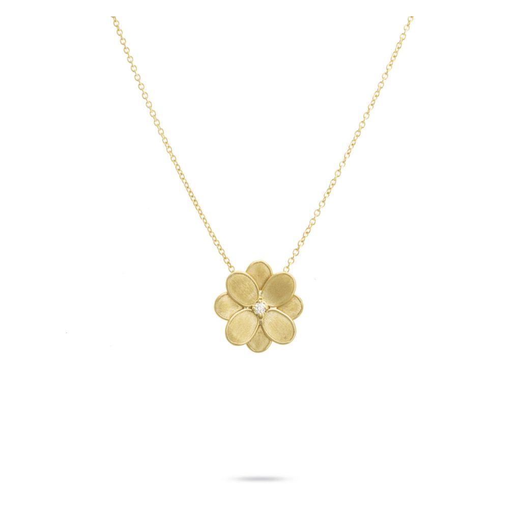 Collier Marco Bicego Lunaria Petali fleur d'or jaune guilloché, diamant central disponible dans notre bijouterie à Liège