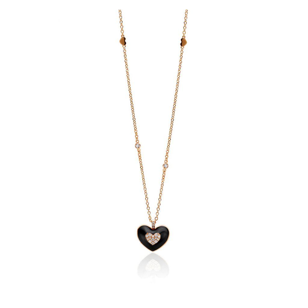 Pendentif Casato coeur en émail noir, or rose et pavé de diamants