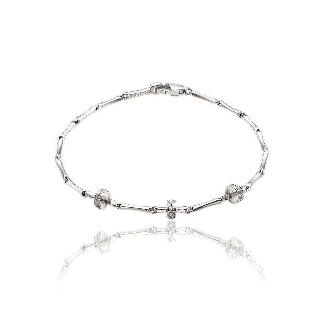 Bracelet Chimento Bamboo Shine or blanc et diamants
