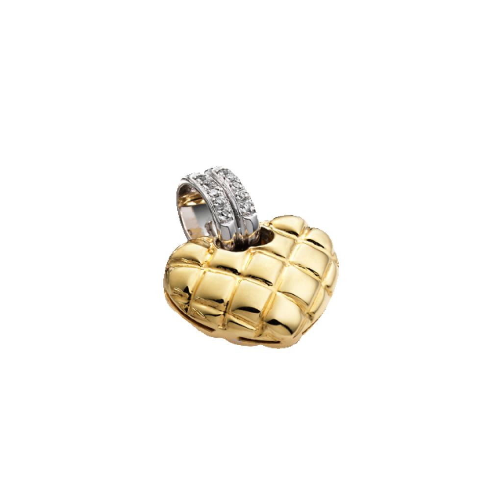 pendentif coeur chimento or jaune or blanc diamants