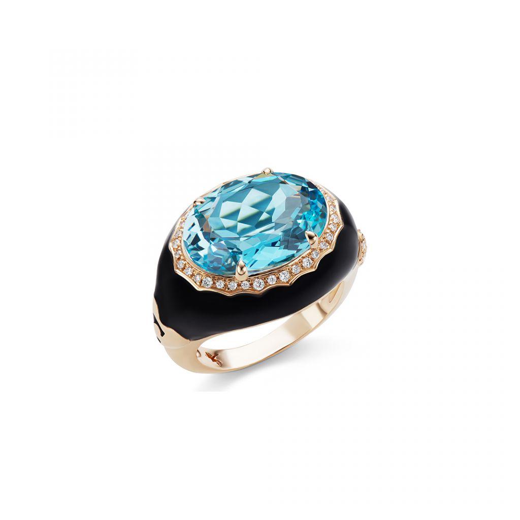 Bague Casato émail noir, or rose, topaze et diamants