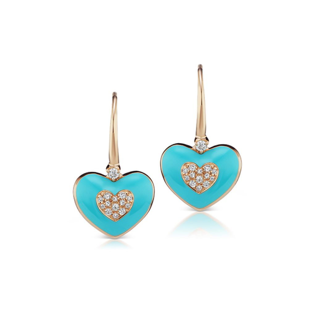 Boucles d'oreilles Casato coeurs en émail turquoise or rose et diamants