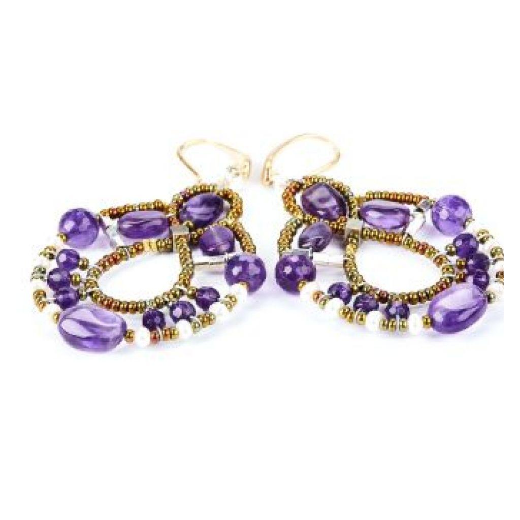 Boucles d'oreilles ZIIO Galaxie Amethyst en améthyste, perles d'eau douce et perles en verre de Murano