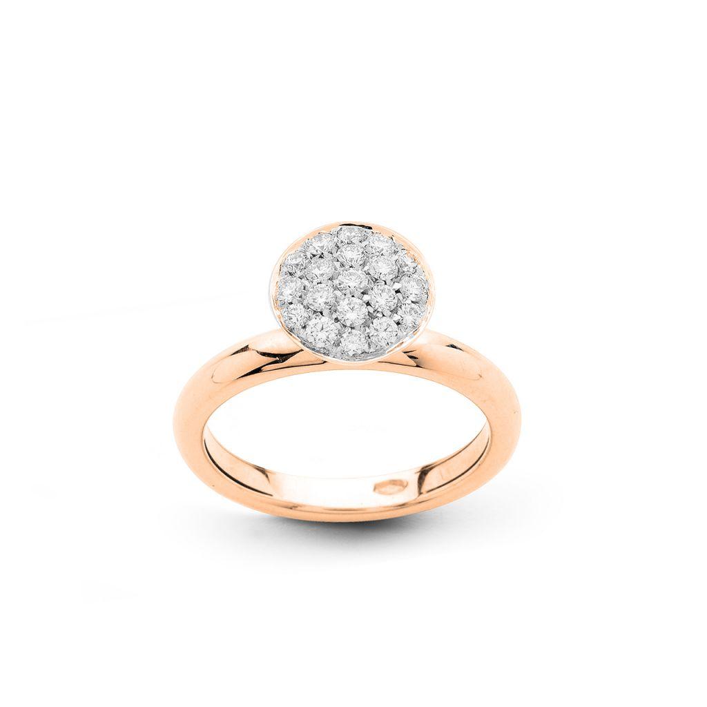 Bague Hulchi Belluni en or rose et pavé rond de diamants