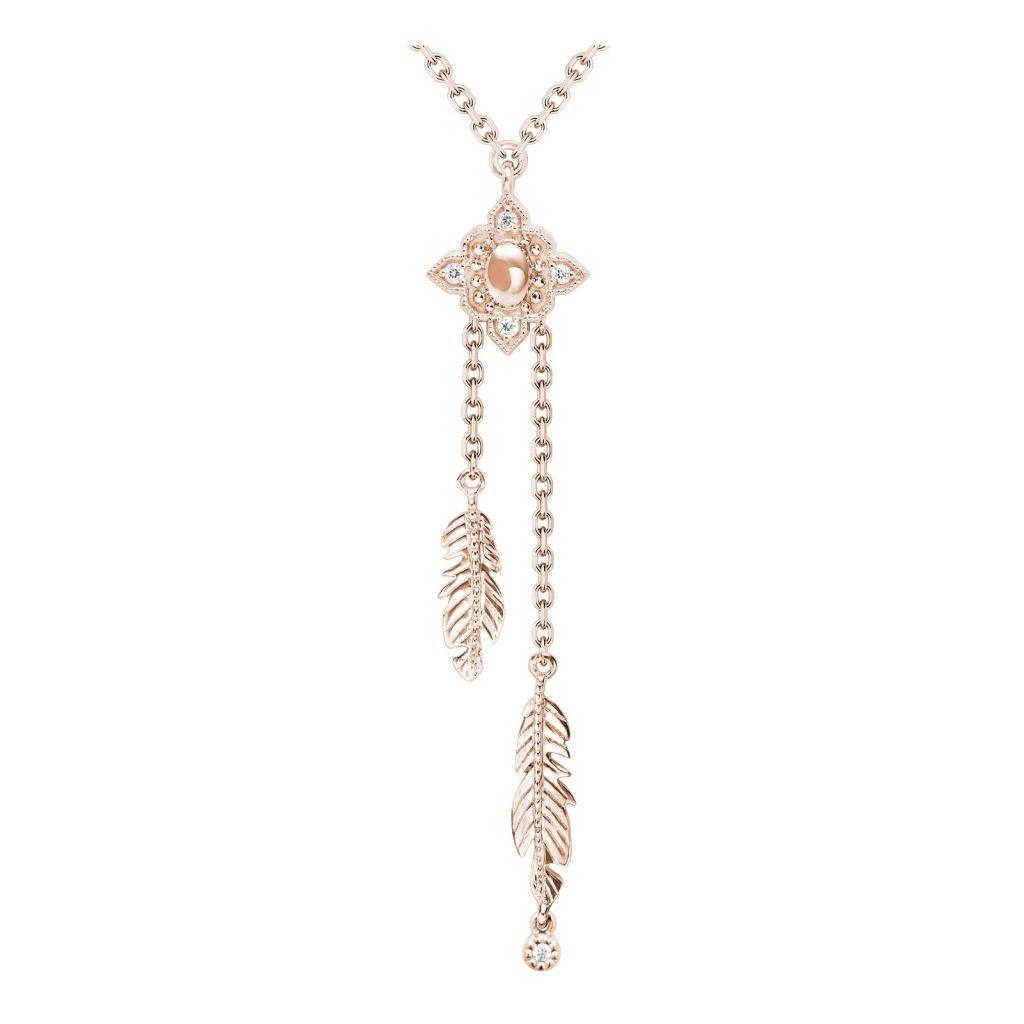 Collier Stone Paris Navajo or rose et diamants