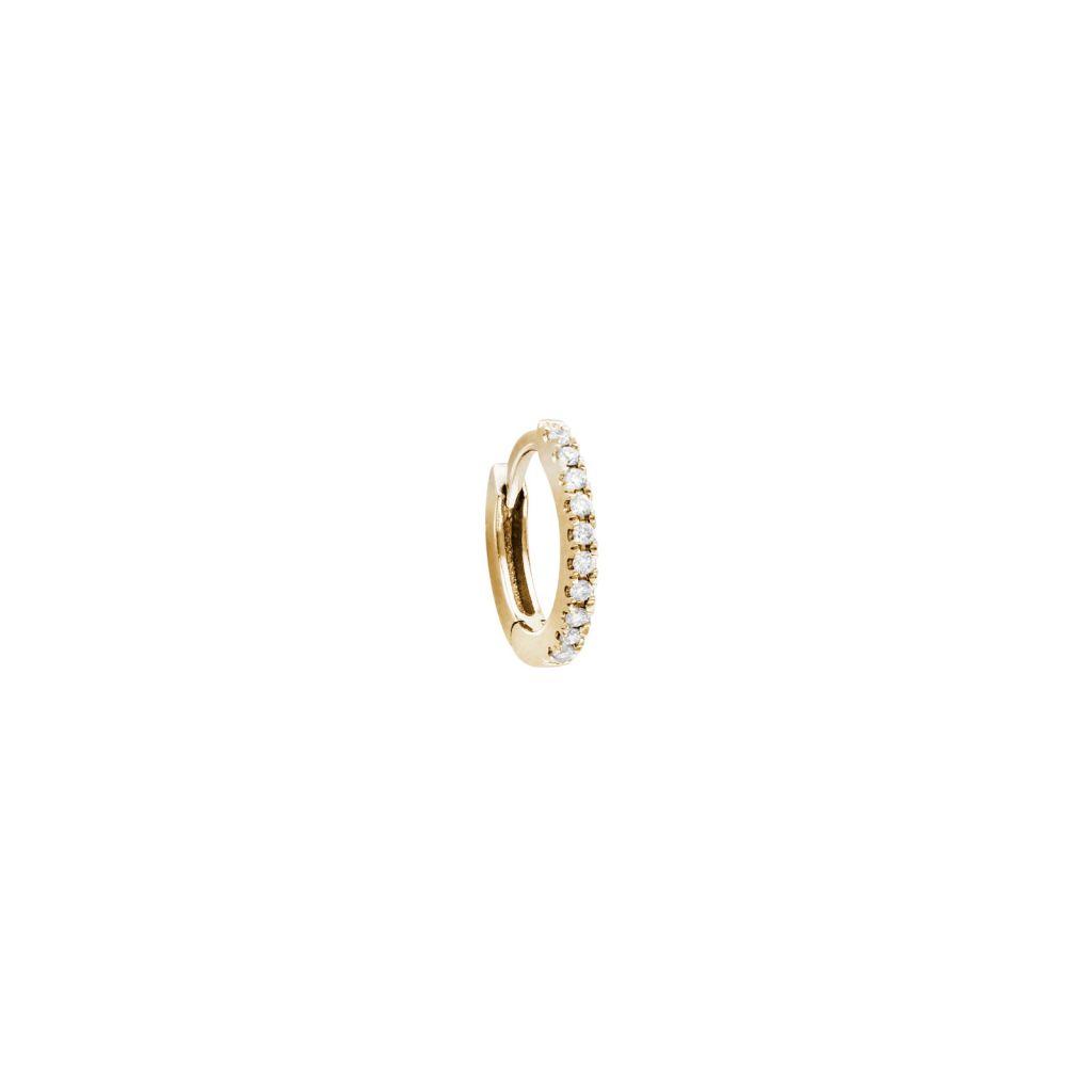 Mini créole pavé Stone Paris or jaune et diamants