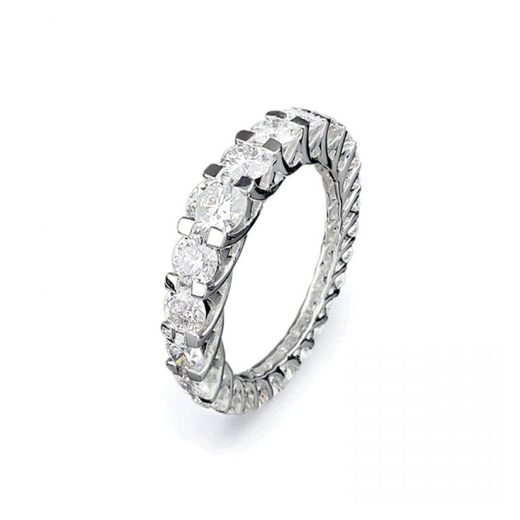 Alliance complète en or blanc et 24 diamants