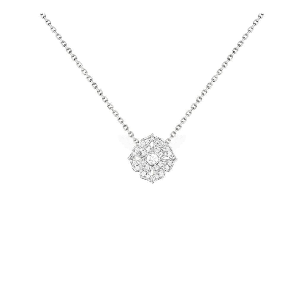 Collier Stone Paris Tiny Flower or blanc et diamants